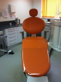Dental couch re-upholstered in new vibrant colour