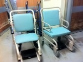 Patient transfer chairs after re-upholstery